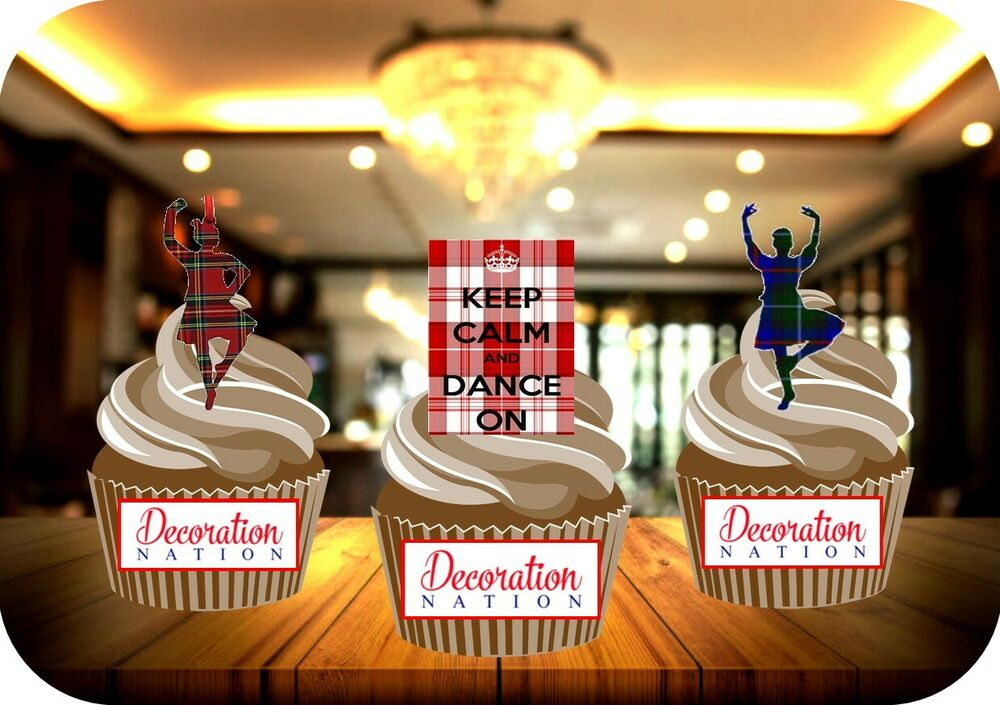 NOVELTY Scottish Highland Dancing Mix 12-48 Edible Cake Toppers ...