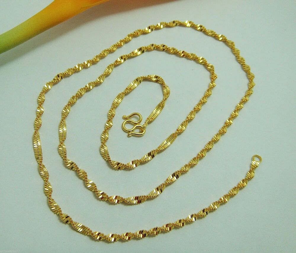22k 23k 24k thai baht yellow gold gp necklace 18 quot jewelry