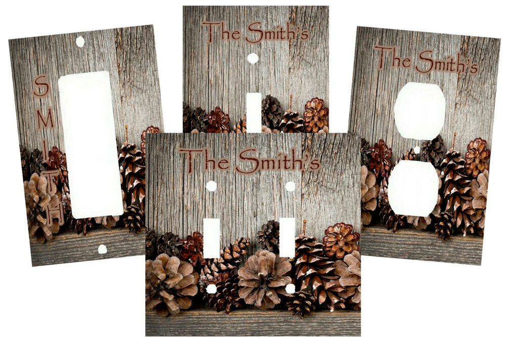 Personalized Rustic Wood Pine Cones Art Image Light