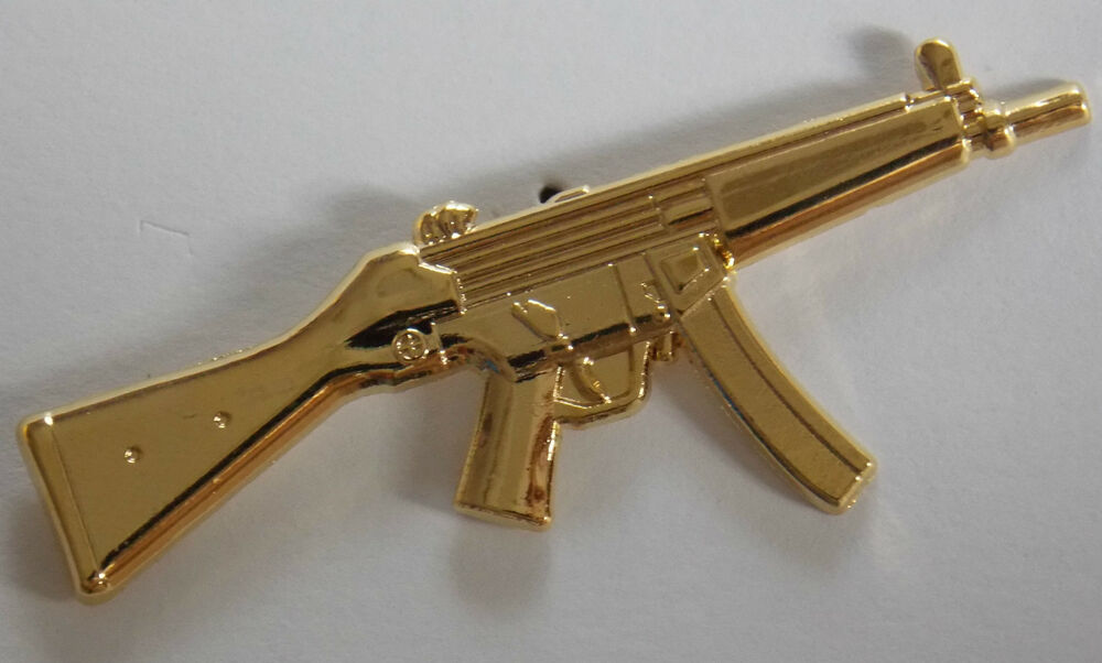 MP-5A2 HK 9MM GOLD PLATED LAPEL BADGE 50MM LONG WITH 2