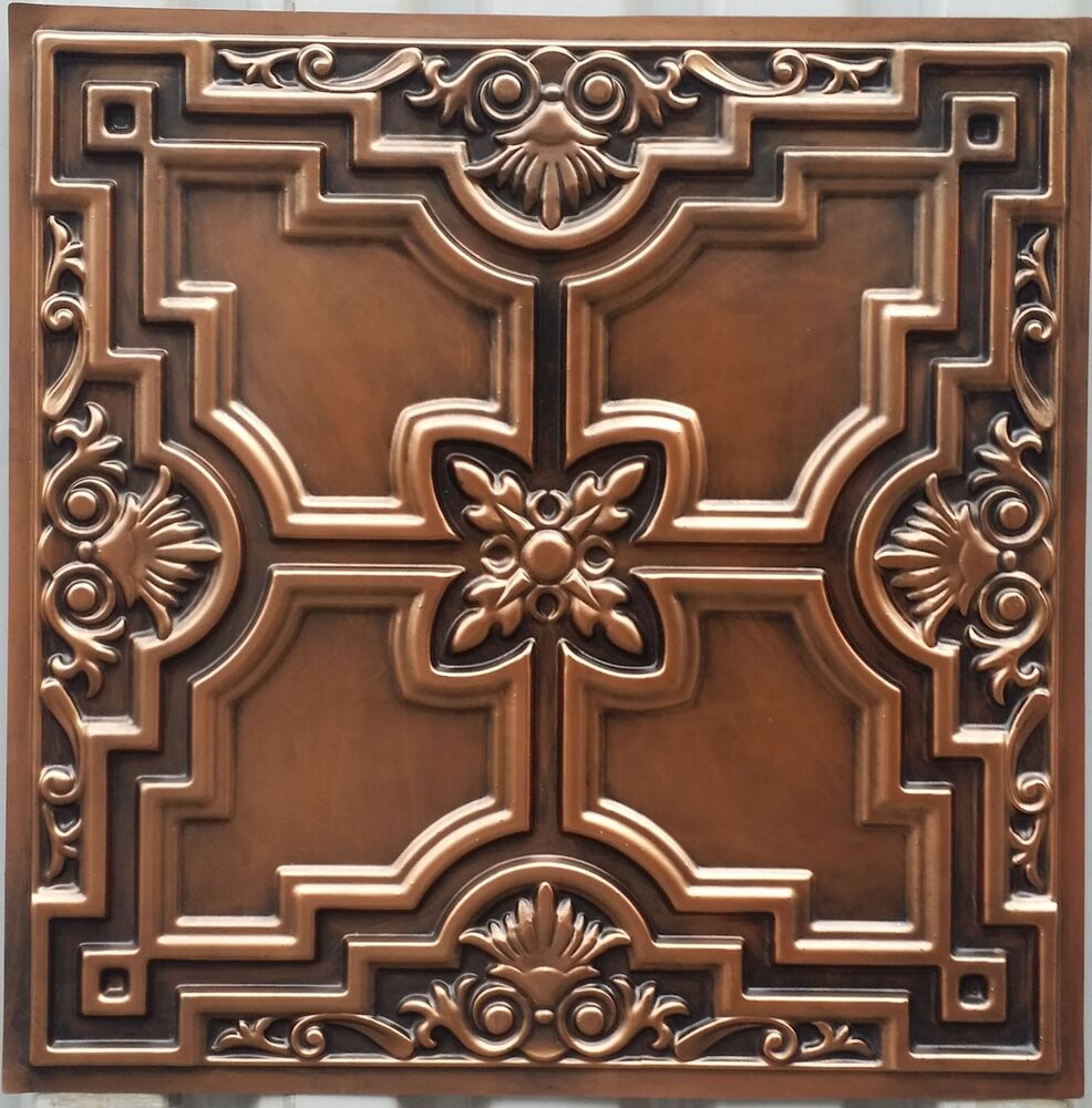 Embassy And Wall Design Ceiling Tiles : Pl faux finish tin d antique copper ceiling tiles decor