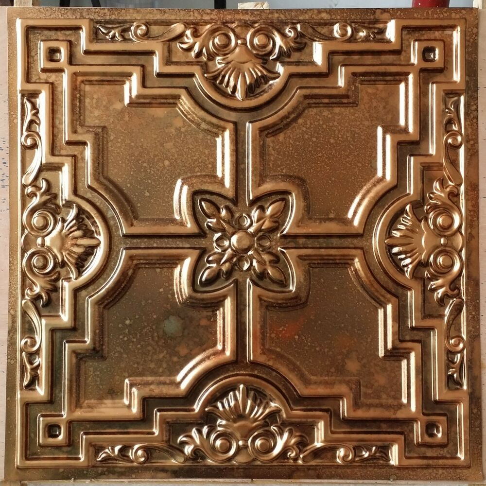 Pl16 Faux Tin Metallic 3d Fleck Copper Ceiling Tiles Decor