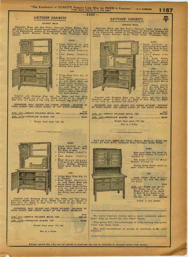 1921 Paper Ad Quaker Maid Kitchen Cupboard Cabinet Hoosier