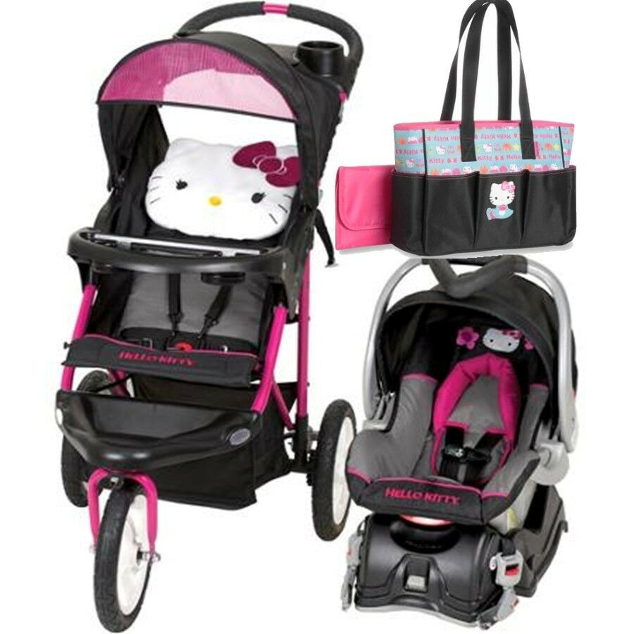hello kitty jogging stroller travel system car seat diaper bag included 99396019246 ebay. Black Bedroom Furniture Sets. Home Design Ideas