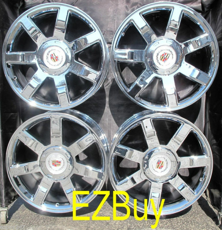 "Used Cadillac Escalade Parts For Sale: 22"" INCH CADILLAC ESCALADE NEW CHROME WHEELS RIMS 5309 WITH CENTER CAPS"