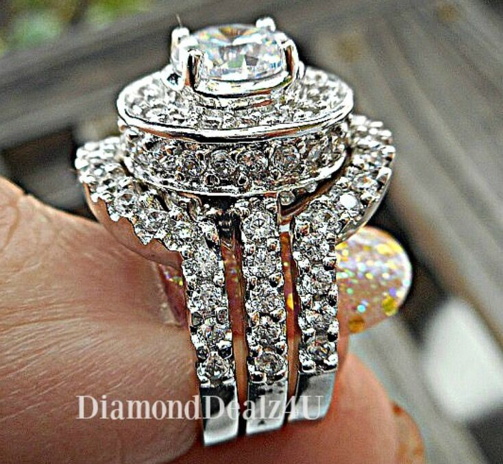 5 Carat Halo Round Cut 925 Sterling Silver Wedding Ring