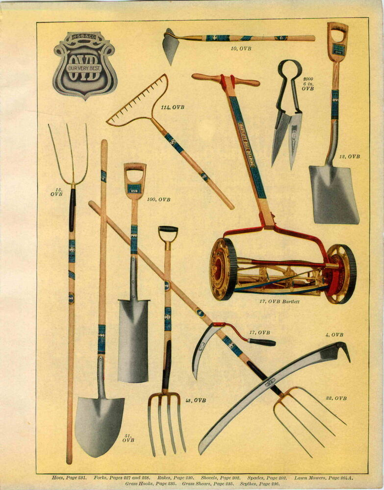 1915 paper ad ovb our very best garden tools lawn mower for Best garden tools to have