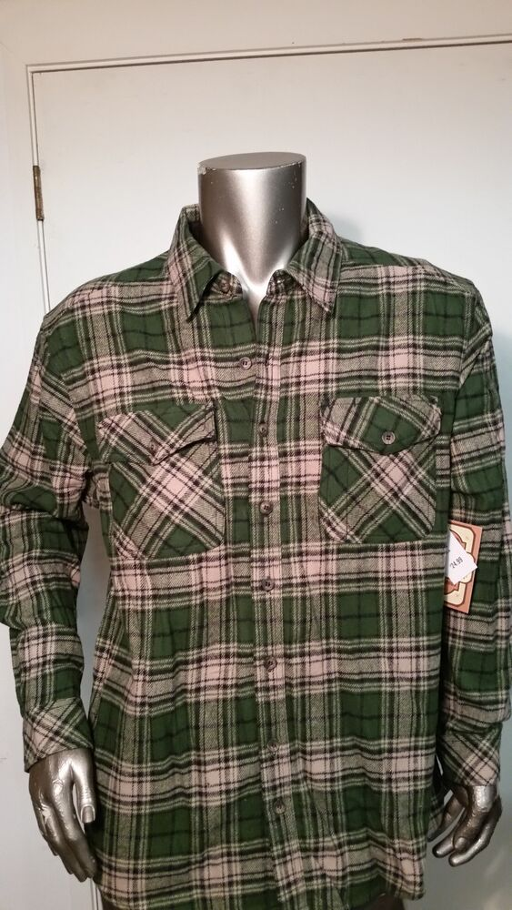 New Mens Heavy Flannel Green Plaid Shirt Made By Ce