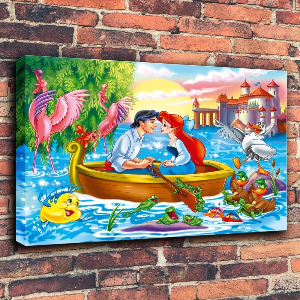 Art Print Oil Paintings On Canvas Children Room Decor Disney Little Mermaid Ebay