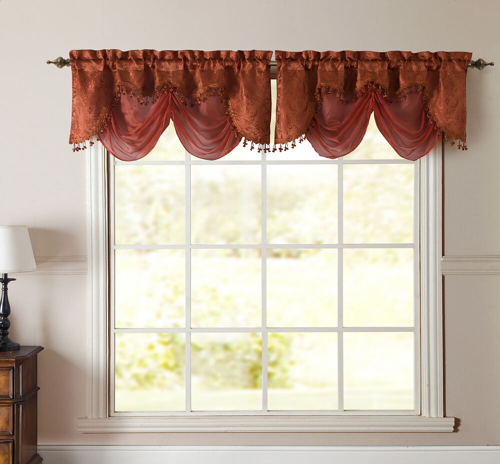 ... Terracotta Rust Jacquard w Sheer Window Valance Curtain | eBay