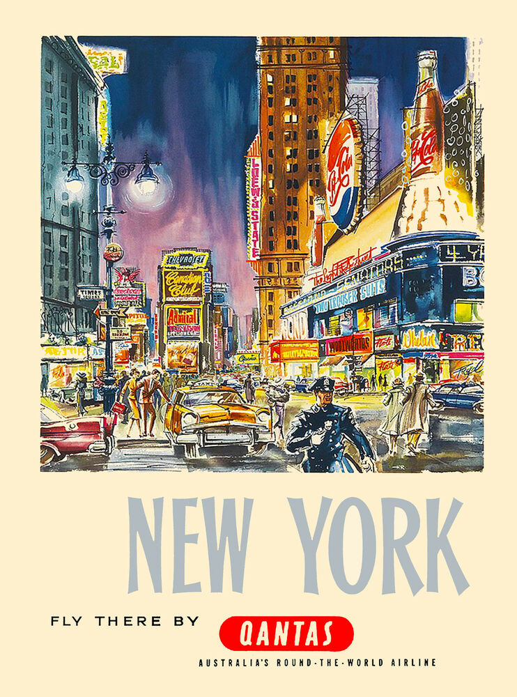 new york fly by qantas united states of america travel advertisement art poster ebay. Black Bedroom Furniture Sets. Home Design Ideas