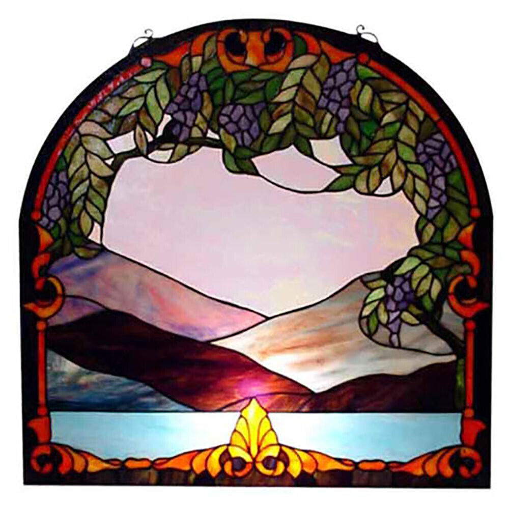 """DOMED WINDOW HANGING PANEL 24"""" STAINED LEADED GLASS"""