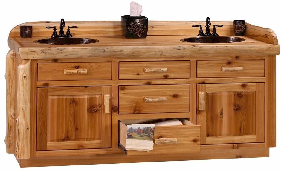 Custom Rustic Cedar Wood Log Cabin Lodge Bathroom Vanity