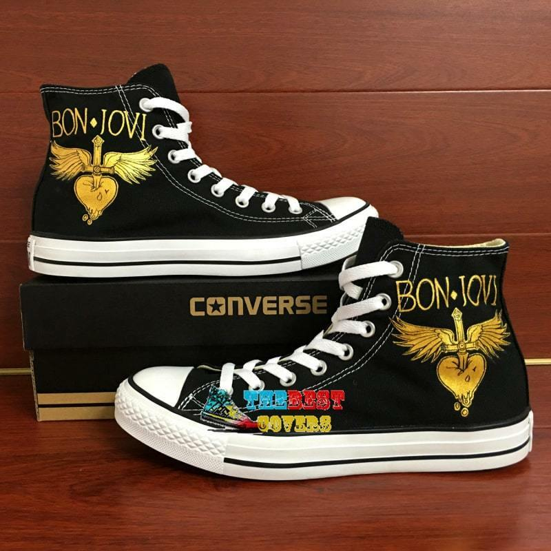 d124d2ac75de Details about CONVERSE All Star BON JOVI singer pop hand painted shoes  zapatos scarpe