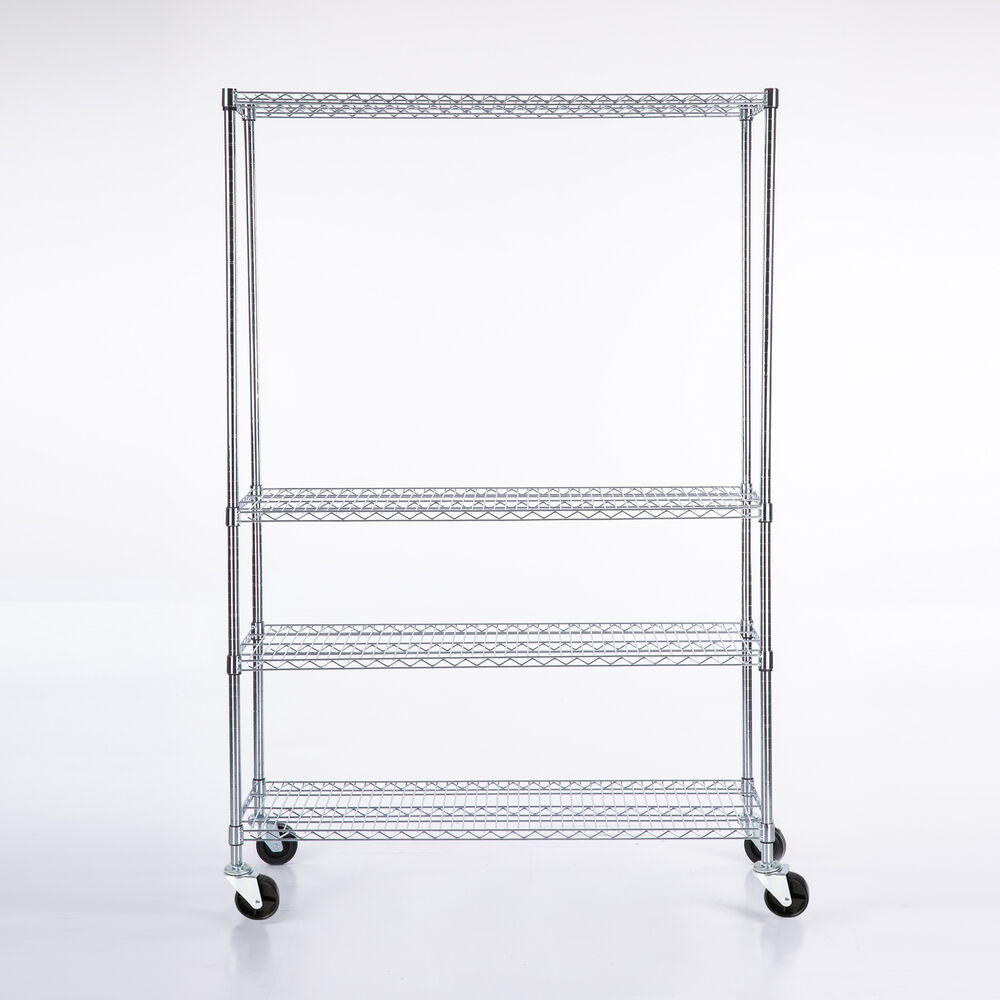 metal shelf rack 82 quot x48 quot x18 quot chrome 4 tier wire shelving rack heavy duty 23277