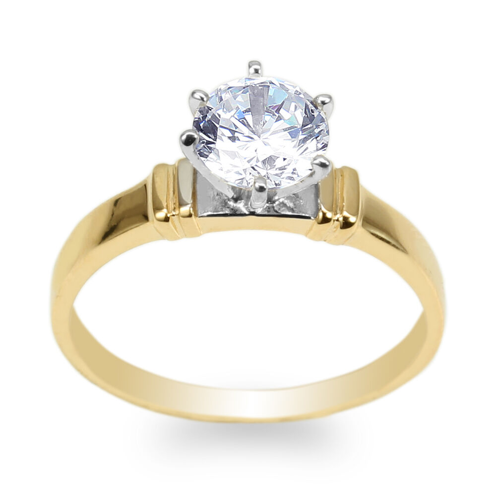 Ladies 14k Yellow Gold 0 9ct Round Cz Two Tone Solitaire