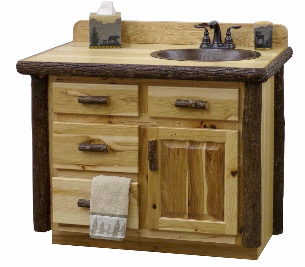 Custom sink rustic hickory wood log cabin lodge bathroom for Bathroom cabinets natural wood