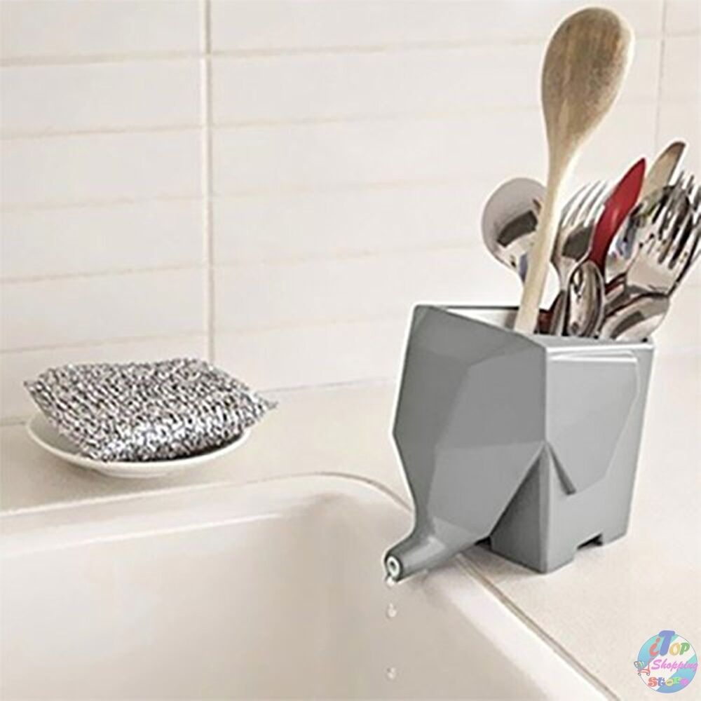 NewCool Cutlery Drainer Holder Storage Box Kitchen Bathroom Elephant ...