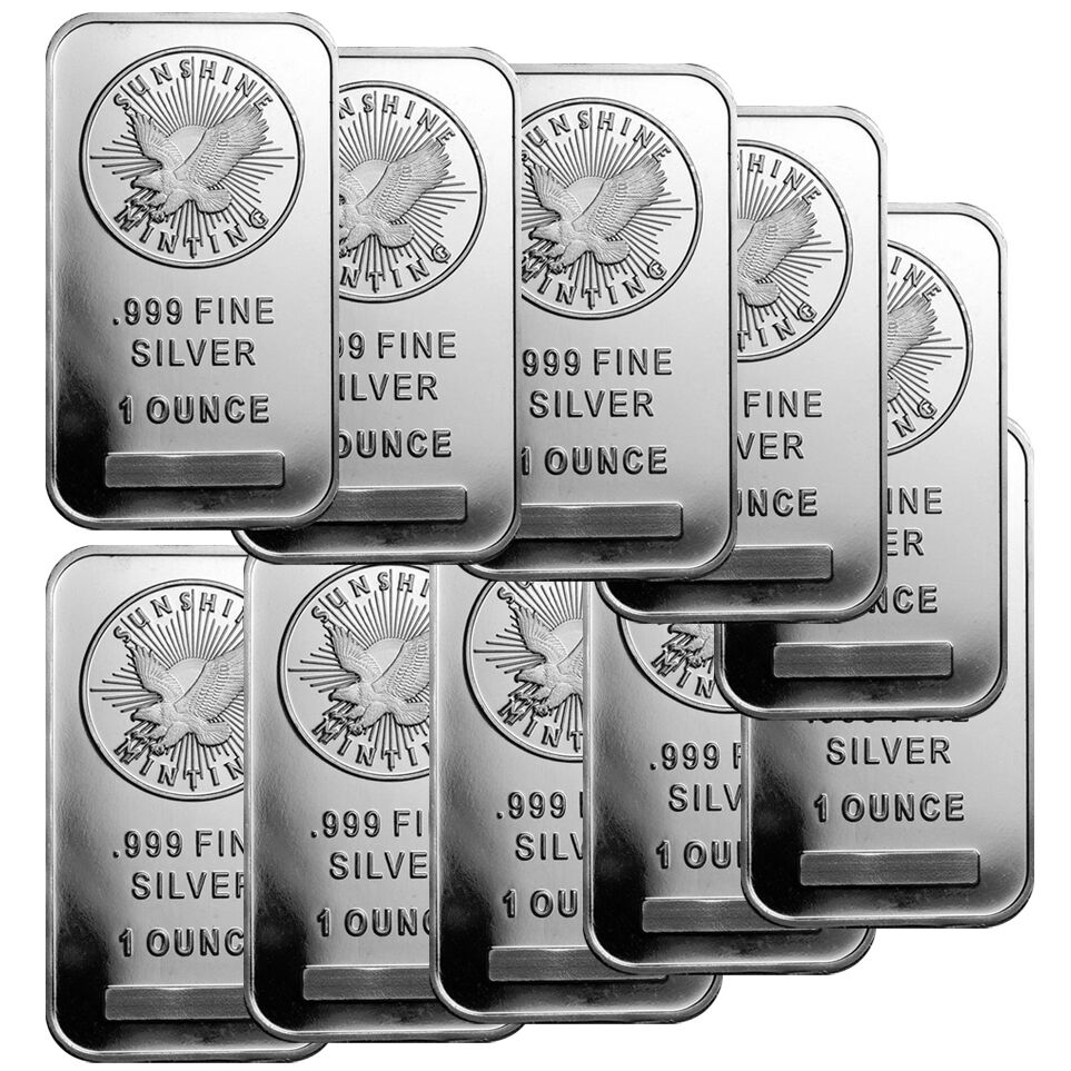 1 Oz Sunshine Silver Bar New Mintmark Si Lot Of 10 Ebay