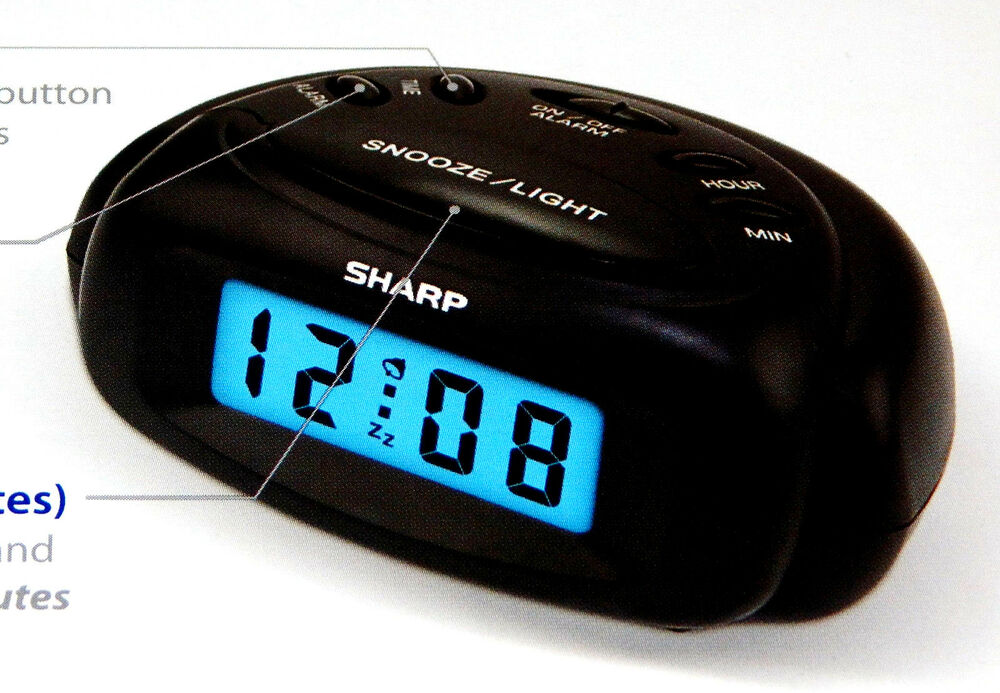 new sharp mini digital alarm clock spc500a battery power black compact travel ebay. Black Bedroom Furniture Sets. Home Design Ideas