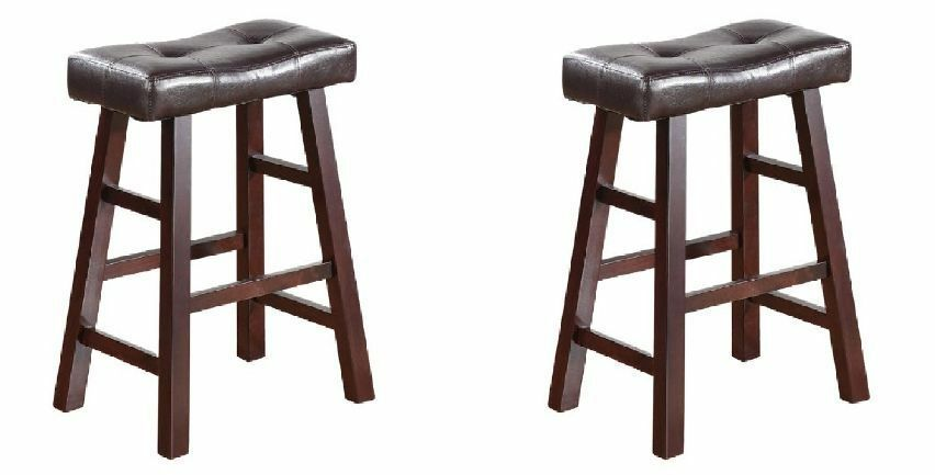 Bar Stool Wood Chair Dining Kitchen Counter Set Of 2 24