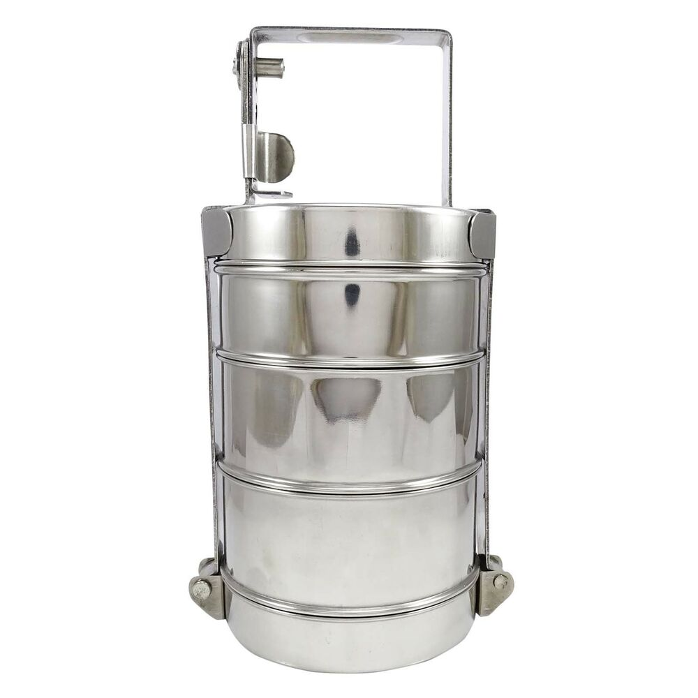 3 tier stainless steel lunch box food container indian tiffin round carrier set ebay. Black Bedroom Furniture Sets. Home Design Ideas