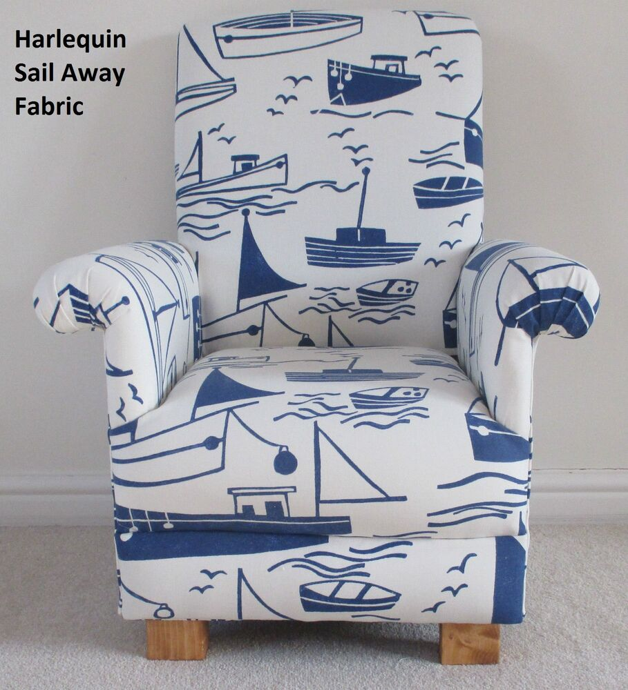 Harlequin sail away fabric child chair blue nautical white for Nautical nursery fabric