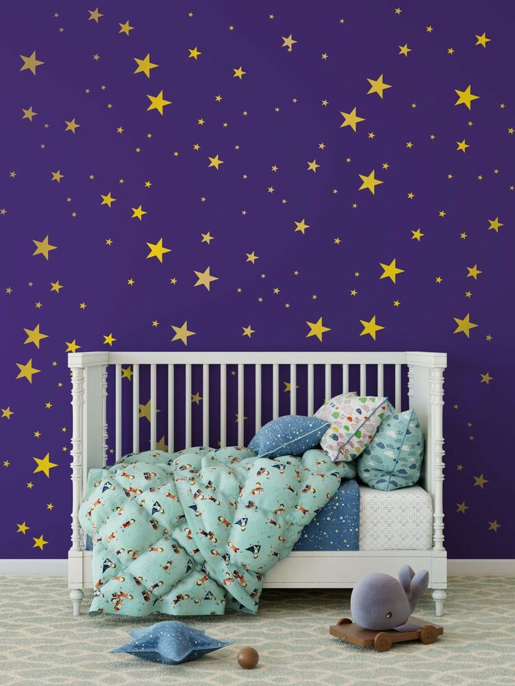 metallic gold wall decals stars wall decor star wall decals confetti decals ebay. Black Bedroom Furniture Sets. Home Design Ideas