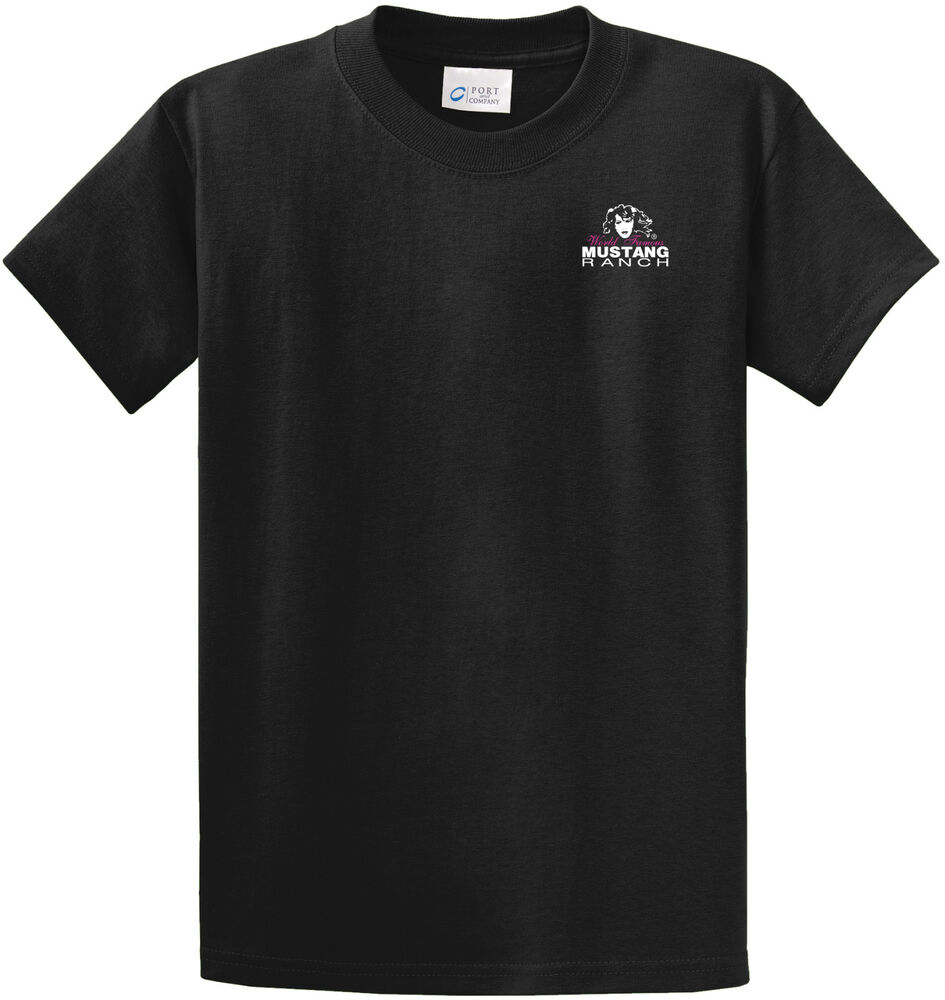 Men 39 s mustang ranch t shirt 50 cotton 50 polyester ebay for 50 percent cotton 50 percent polyester t shirts