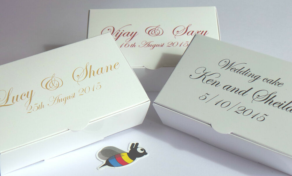 Wedding Cake Gift Boxes Uk : Bespoke Wedding Favour Cake Boxes 100x60x30mm * only ?16.72 inc. del ...