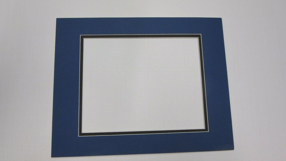 Picture Frame Double Mat 11x14 For 8x10 Photo Medium Blue