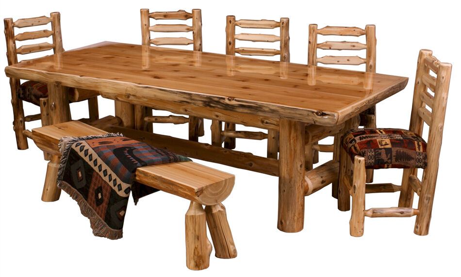 Northern cedar log dining table real wood high quality for Quality wood dining tables