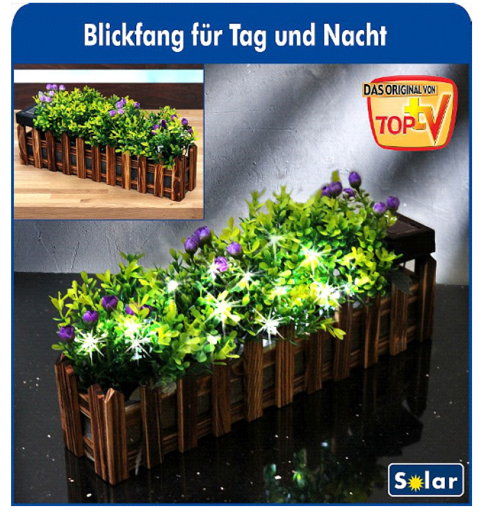 blumenkasten led solar pflanzkasten lichterkette solarlampe holz braun blumen ebay. Black Bedroom Furniture Sets. Home Design Ideas