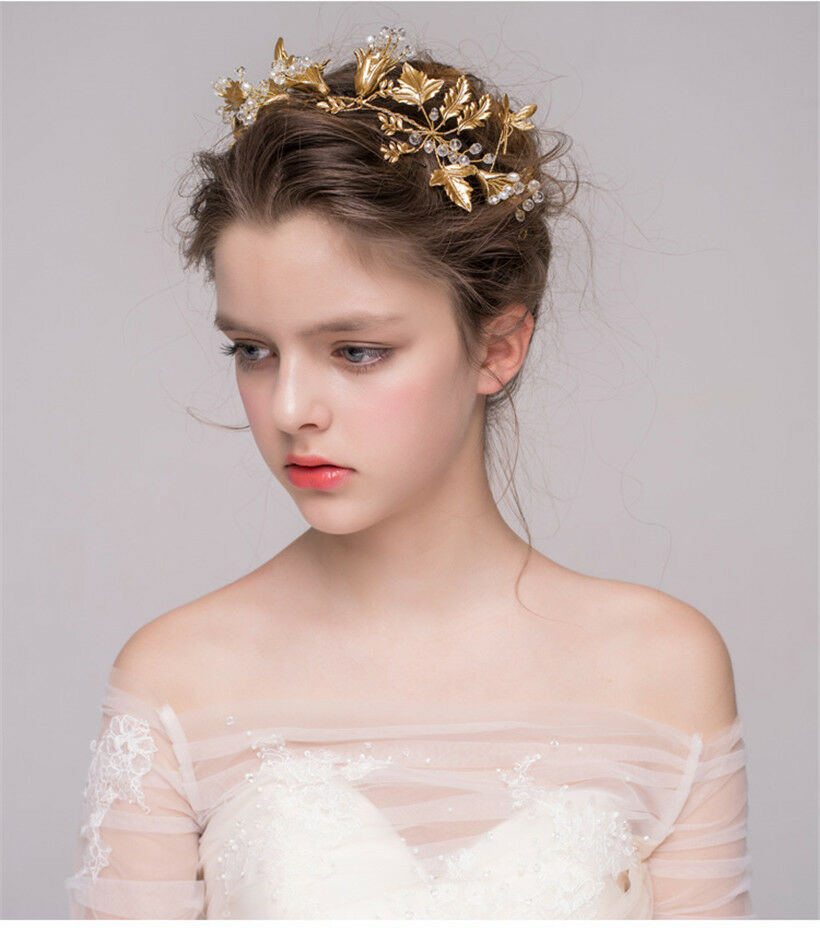Hairstyles With Crown Queen: Vintage Wedding Bridal Gold Queen Hair Accessories Jewelry