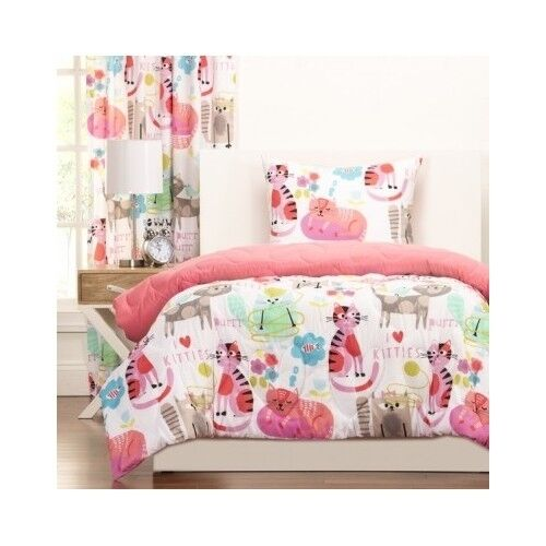 bedroom comforter set 3pc bed in a bag kitty print girls kids teens dorm room ebay. Black Bedroom Furniture Sets. Home Design Ideas