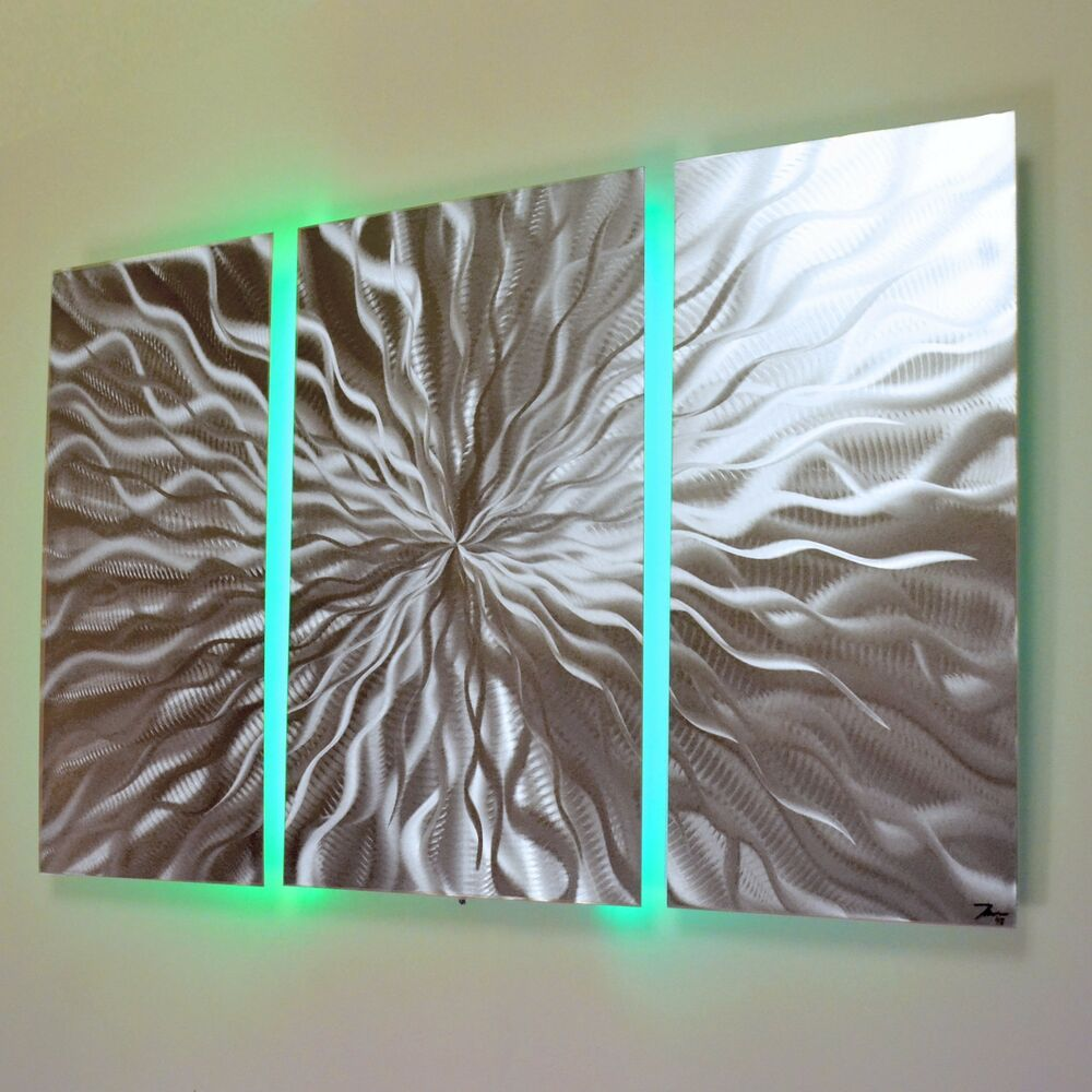 Led Decor Lights: Modern Abstract Metal Wall Art Color Changing LED Lighting