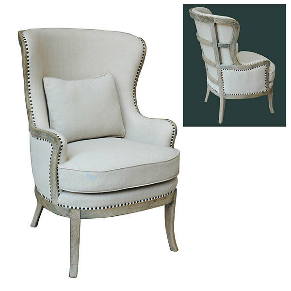 French upholstered accent chair arm linen wood