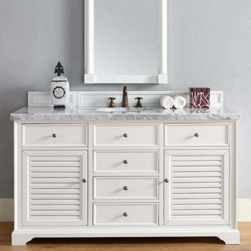 60 James Martin Savannah Cottage White Single Bowl Sink Bathroom Vanity Antique Ebay