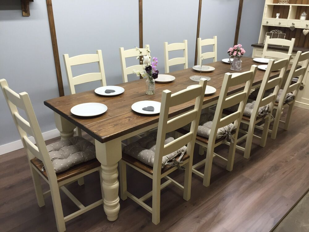 10 12 Seater LARGE FARMHOUSE DINING TABLE 10 CHAIRS OAK PINE Shabby chic RUST