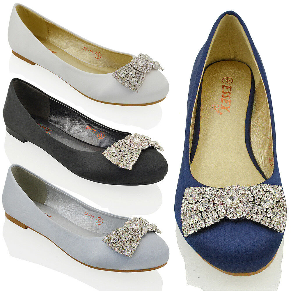 WOMENS WEDDING BRIDAL EVENING JEWELLED BROOCH PUMPS LADIES FLAT DOLLY SHOES | EBay