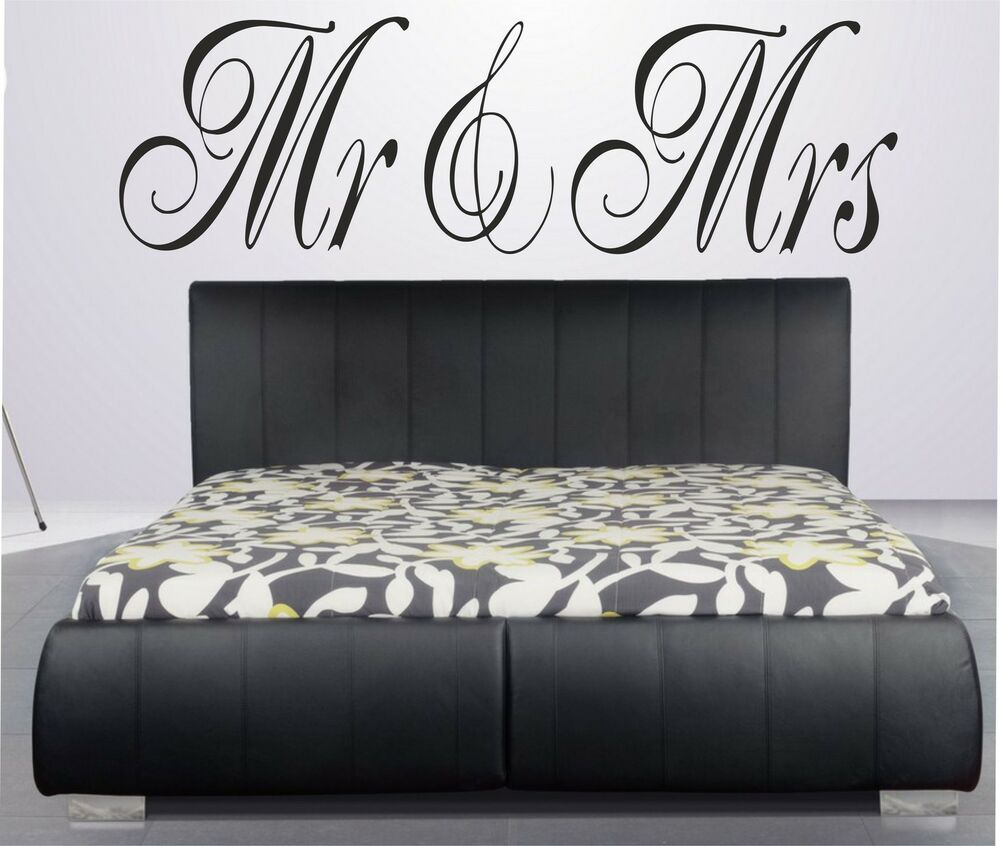 beau stickers couple amour mr mrs amoureux t te de lit chambre couple adulte ebay. Black Bedroom Furniture Sets. Home Design Ideas