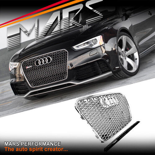 Audi A5 With Rs5 Grill: Chrome Silver Honeycomb RS5 Style Front Bumper Grille
