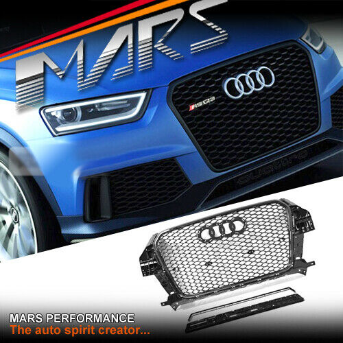 Gloss Black Honeycomb RS-Q3 Style Front Bumper Grille