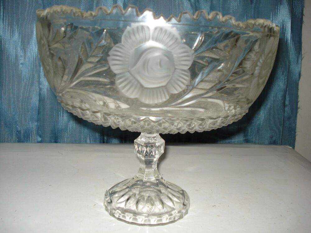 Large footed floral crystal cut etched bowl centerpiece