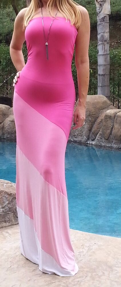 Maya Antonia Plus Size Strapless Hot Pink White Maxi Dress