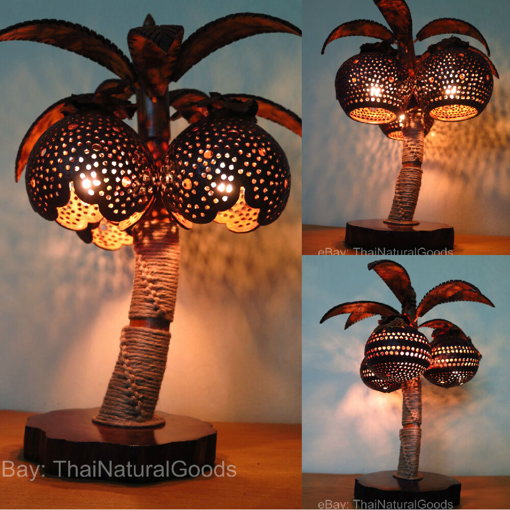 Wooden Bedside Table Lamps Made Of Coconut Shell Asian
