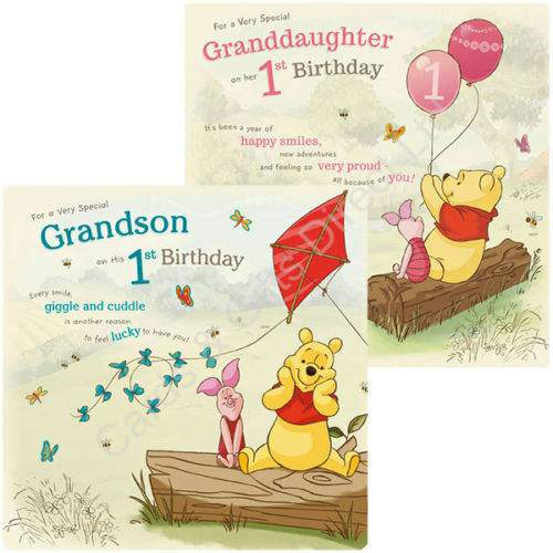Details About Winnie The Pooh 1st Happy Birthday Card Granddaughter Grandson Cards Piglet Bear