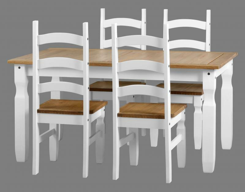 Corona White And Distressed Waxed Pine 5 Dining Set Table