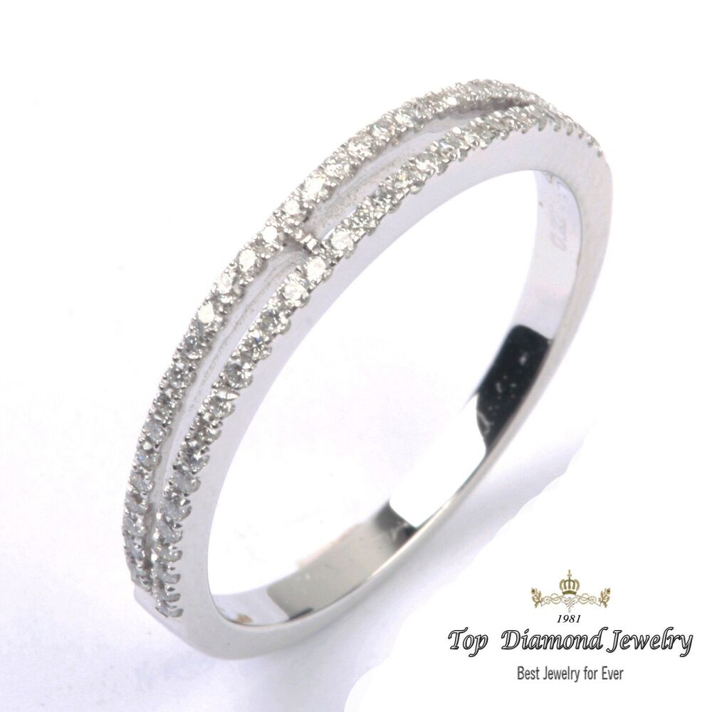 Half Eternity Band Bands: Solid 14K White Gold Half Eternity Band MILGRAIN Pave G/S1