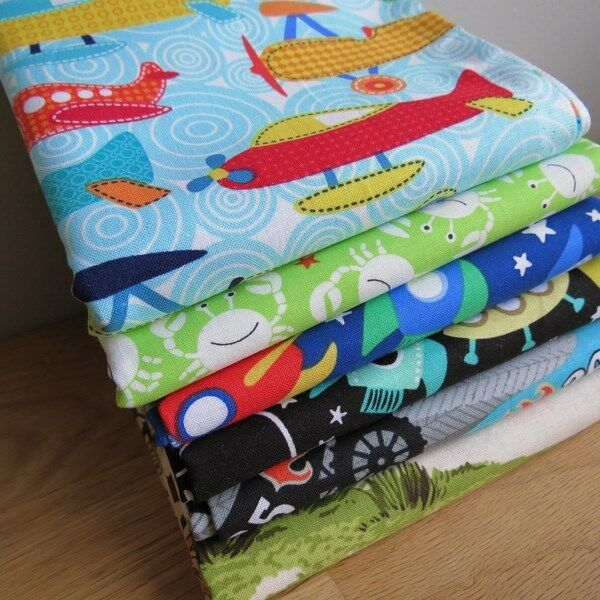 Fq boys space cowboys crabs motorbikes planes 100 cotton for Space boy fabric